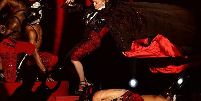 Watch Madonna Fall Off the Stage at The Brit Awards!