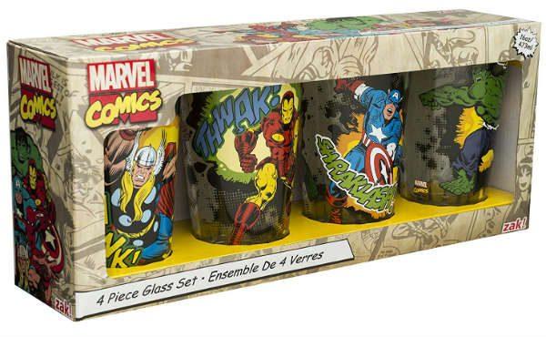 marvel comics glass set