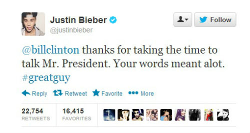 Bieber Clinton tweet